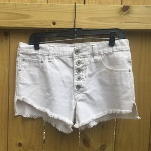 Free People white denim cutoff shorts